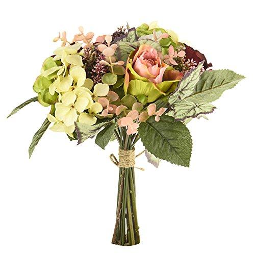 Bouquet de fleurs artificielles en ronce - Arrangement de bouquet - Rouge et rose foncé - Rose crème - Hydrangea - Thème automne - 24 cm