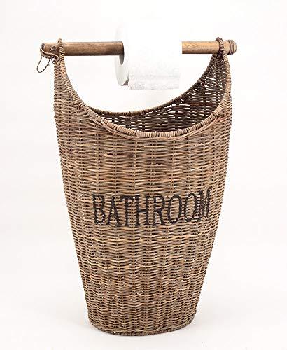 Vintage-Line Toilettenpapier Eimer mit Aufdruck Aufbewahrungskorb Toilettenrollenhalter Rattan Naturrattan Handgefertigt