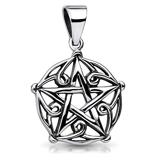 MATERIA 925 Sterling Silber Kettenanhänger Pentagramm Gothic rhodiniert inkl. Schmuckbox #KA-54