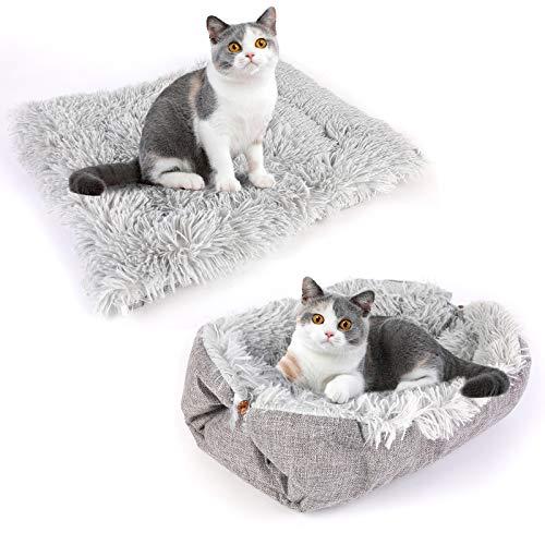 NIBESSER Katzenbett Waschbare 2 in 1 Katzenbett Plüsch Weich Katze Schlafen Bett Katzensofa Flauschige Katzenbett Katzendecke