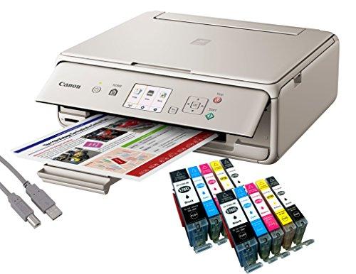 Canon Pixma TS5053 Tintenstrahl-Multifunktionsgerät grau (Drucken, Scannen, Kopieren, WLAN, Print App) + USB Kabel & 10 YouPrint® Tintenpatronen (Originalpatronen ausdrücklich Nicht im Lieferumfang)