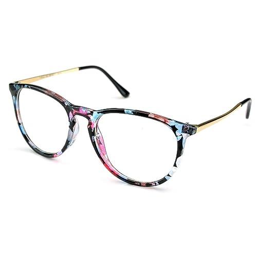 dfdac9fcbdd6 PenSee Womens Fashion Oversized Clear Lens Round Circle Eye Glasses