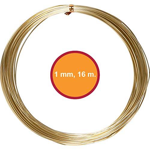 YooKreativ Aluminiumdraht, (Gold, 1 mm, 16 m.), Basteldraht, Dekodraht, Stark, Weich und Langlebig