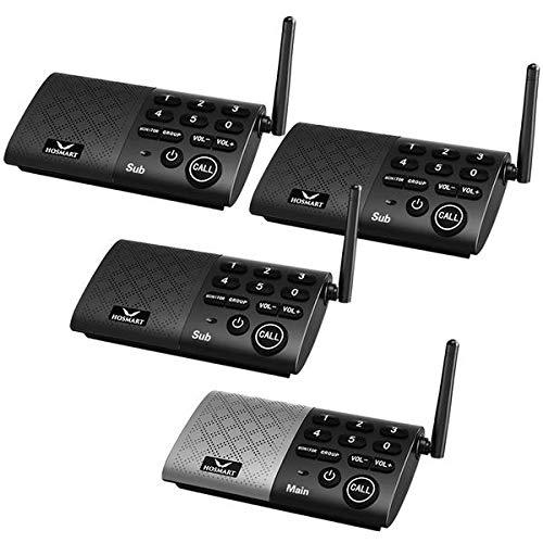 HOSMART Wireless Gegensprechanlagen für Zuhause oder im Büro mit Zwei- und Mehrwege-Anrufe | kristallklarer Sound und über 300m Reichweite(1 Main 3 Sub)