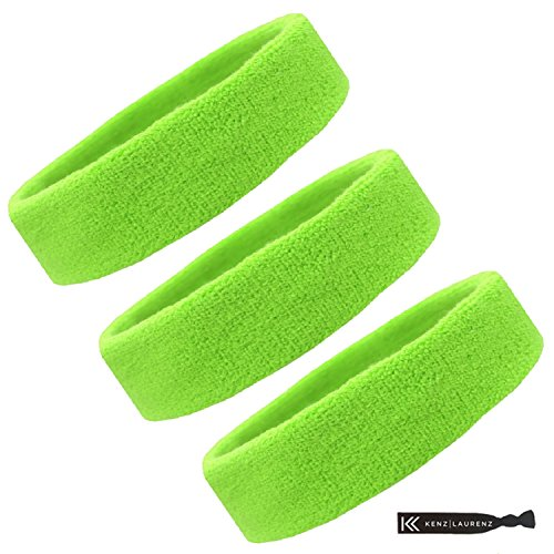 Sweat Bands/Headbands for Women Men/Elastic Headband Sports Sweatband Athletic Stretchy Head Band Workout Running Basketball Tennis Moisture Wicking Terry Cloth Set Keep Sweat Hair (neon Green)