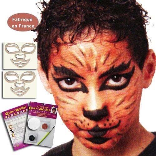 Kit pochoirs maquillage enfant, motif Tigre, grand modèle