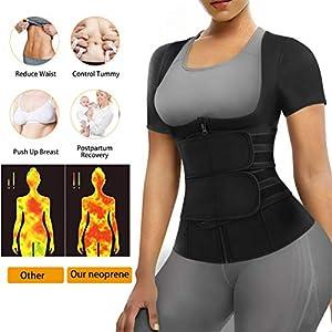 Eleady Women Waist Trainer Corset Trimmer Belt Neoprene Sauna Sweat Suit Zipper Body Shaper with Adjustable Workout Tank Tops (Black, Large)