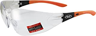 Global Vision Relentless Safety Riding Glasses Orange Frame Clear Lens ANSI Z87.1
