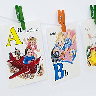 A is for Airplane ABC Alphabet Vintage Style Flash Cards, School, ABC flash cards, Alphabet flash cards, Vintage ABC