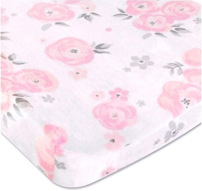 Wendy Bellissimo Velboa Contoured Diaper Pad Cover For Diaper Changer 32x16x6 From The Savannah Collection Floral Print In White Pink Grey