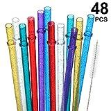 48 Piezas 11 Pulgadas Pajitas de Plástico Reutilizables sin BPA Coloridas Brillantes para 40/30/24 oz Jarra y Vasos, con Cepillo de Limpieza...