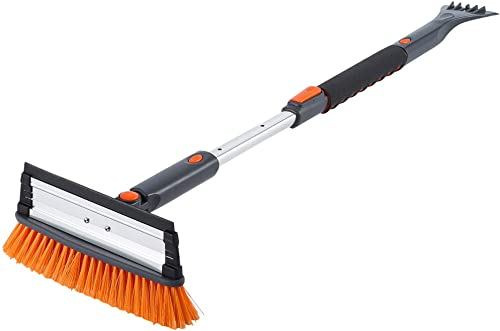 """SUPERJARE 39"""" Telescoping Snow Brush with Integrated Ice Scraper & Squeegee Head, Extendable Snow Broom with Foam Gri..."""