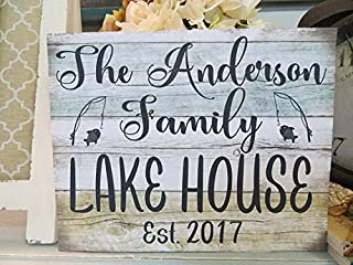 uniquepig Personalized Family Name Lake House Wood Signs with Sayings Beach Theme Home Decor Wood Hanging 8x12 Birthday,Christmas Gifts