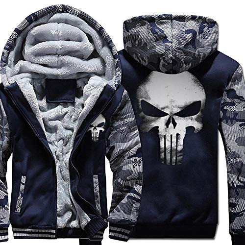 CHUSS Herren Hoodie Jacke Sweater - The Punisher Schädel-Druck Beiläufige Winter-Zip Kapu Stitching Langarm-Sweatshirt Warm Coat Black-3X-Large