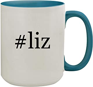 #liz - 15oz Hashtag Ceramic Inner & Handle Colored Coffee Mug, Light Blue