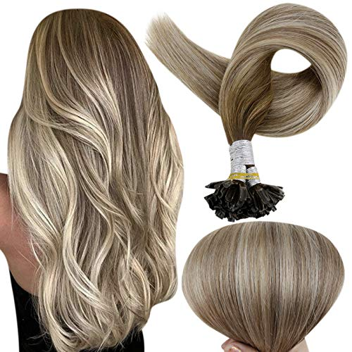 Full Shine Nail Tip Long Remy Hair Extensions 20 Inch 1g Per stand Pre Bonded U Tip Keratin Glue In Human Hair Extensions Balayage Color 3 Fading To 8 And 22 Blonde Nail Tips Straight Brazilian Hair