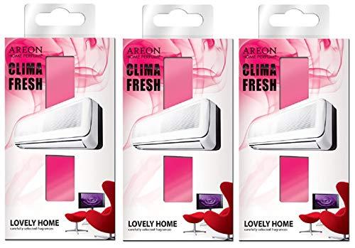 AREON Clima Fresh Ambientador Hermosa Casa Aire Acondicionado Rojo Original Hogar Salón Oficina Tienda Olor (Lovely Home Pack de 3)