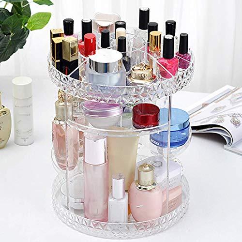 ZHAS Boîte de Rangement cosmétique Tournante Acrylique Organisateur de cosmétiques Transparent en Plastique Bain De Stockage Salle De Bains Rack Plateau pour Maquillage Titulaire