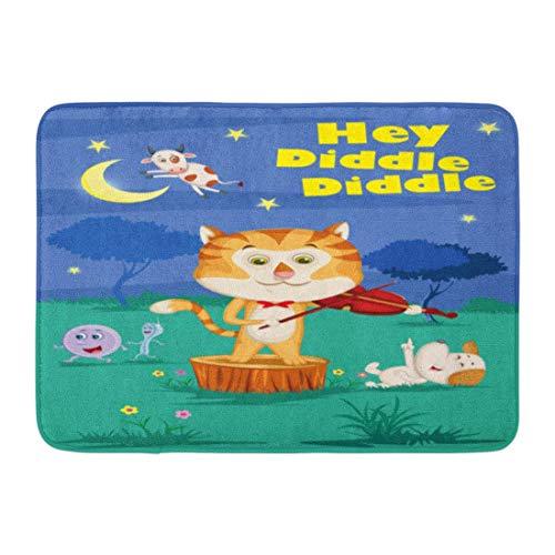 LiminiAOS Fußmatten Bad Teppiche Outdoor/Indoor Türmatte Katze Hey Diddle Kinder Englisch Kinderreime Buch in Geige Geschichte Gedicht Badezimmer Dekor Teppich Badmatte