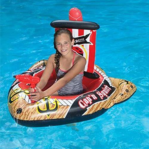 Schlauchboot Aufblasbares Piratenboot, Schwimmring Aufblasbare kämpfende Reihe mit Sprinkspielzeug für Kinder im Schwimmbad, 1 x Schwimmbadschwimmer 1 x Selbstansaugender Wasserauswerfer