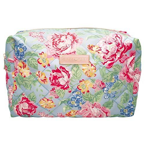 GreenGate Kulturtasche graublau Rosen-Design Reißverschluss Toilettentasche Kosmetiktasche Kulturbeutel
