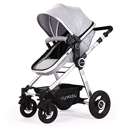 Cheapest Price! Baby Stroller Bassinet Pram Carriage Stroller – Cynebaby All Terrain Vista City Select Pushchair Stroller Compact Convertible Luxury Strollers add Foot Cover (Fresh Grey)