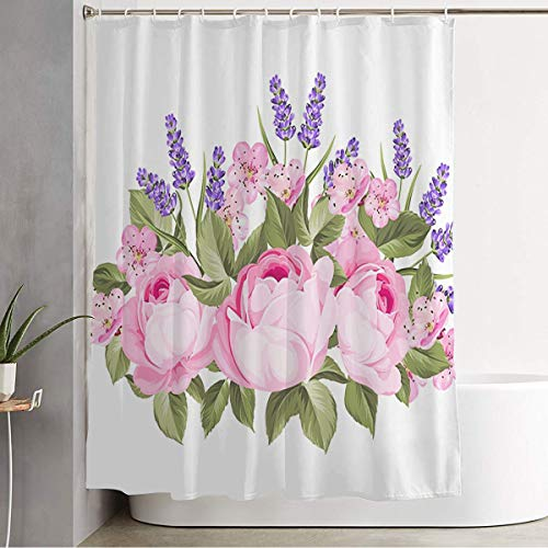 Starocle Shower Curtain Plant Vertical Pattern Blooming Spring Herbal Flowers Vintage Garland Purple Roses Nature Leaf Red Waterproof Polyester Fabric Bathroom Decor Sets with Hooks 72x72 Inch