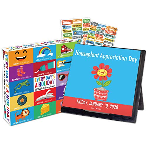 Every Day's A Holiday 2020 Calendar Box Edition Bundle - Deluxe 2020 Holiday Everyday 365 Daily Pages Box Calendar with Over 100 Calendar Stickers