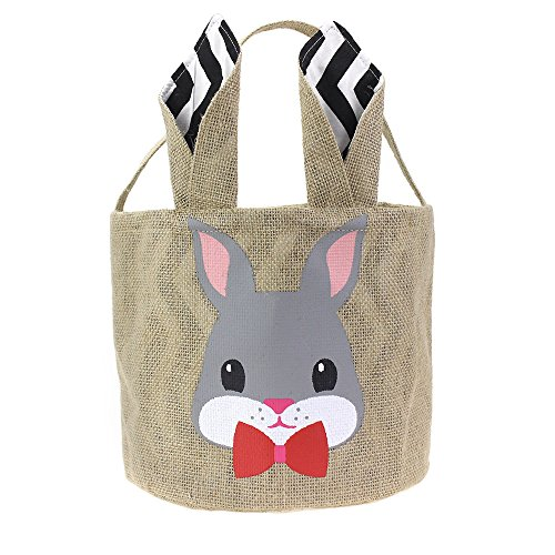 WENDSIM Easter Personalized Bunny Basket -7 Adorable Patterns- Cute Easter Eggs Basket with Foldable Ears-Environmental and Durable Easter Basket -for Kids Carrying Eggs,Gifts,Toys(G-Rabbit-Black)