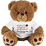 """8. Crown Awards Custom Teddy Bear Gift for Girlfriend, 10"""" Personalized World's Greatest Girlfriend Teddy Bear Tshirt with Your Own Engraving Prime"""