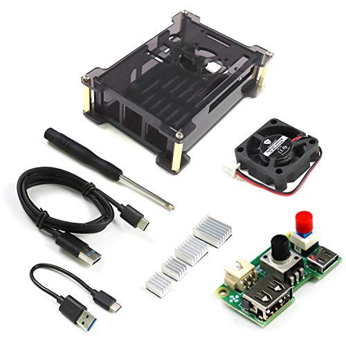 Freenove Case Kit for Raspberry Pi 4 B with Adjustable Cooling Fan, Power Switch, Acrylic Protective Case, USB Cable