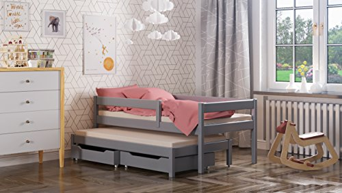 WNM Group Maria single bed with trundle and drawers for kids made of solid wood - different sizes - 6 colours (Grey, 200x90 / 190x90)