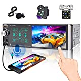 4.1 inch Single Din Car Stereo,Touch Screen Car Radio with Smart AI Voice, Am/Fm Radio with Bluetooth, 3USB /TF Card/ AUX-in Ports, Mirror Link for iOS/Android + Backup Camera/Steering Wheel Control