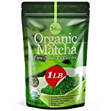 Organic Matcha Green Tea Powder USDA Certified - 100% Pure Matcha for Smoothies and Baking - 1 Lb