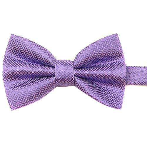 SODIAL(R) Cravate Pre Liee Hommes Pur Papillon Polyester Mariage le violet clair