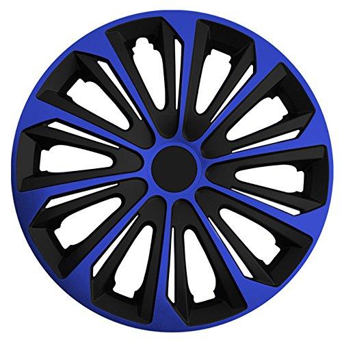 Autoteppich Stylers (Größe wählbar) 14 Zoll Radkappen/Radzierblenden Strong Bicolor (Schwarz-Blau) passend für Fast alle Fahrzeugtypen – universal