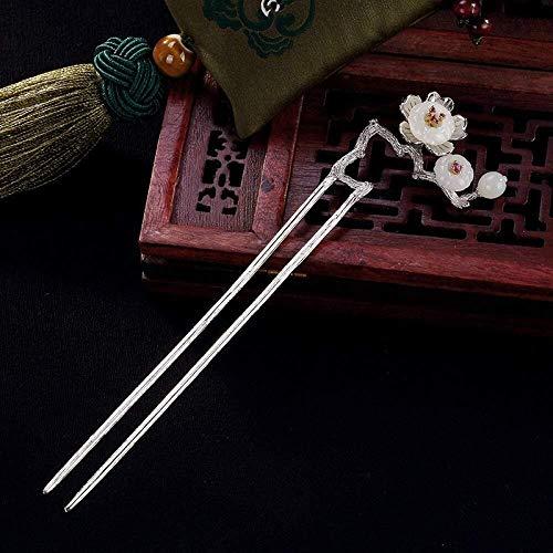 YEESEU. 925 Sterlingsilber-Hairpin-Haar-Stock Retro chinesisches Plum weiße Jade klassisches weibliches Temperament Braut-Haar-Zusatz-Dekoration Feste