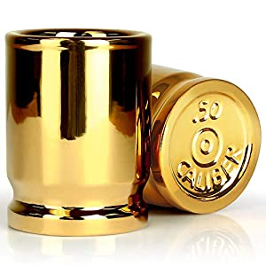 The Original 50 Cal Shot Glass, Set of 2 Shot Glasses Shaped like 50 Caliber Bullet Casings - Each Shot Holds 2 Ounces by Barbuzzo