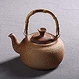 Chaleira de vidro doméstica, chaleira de cerâmica de 1400Ml, textura de grés, cabo de bambu, estilo oriental, adequada para ferver chá