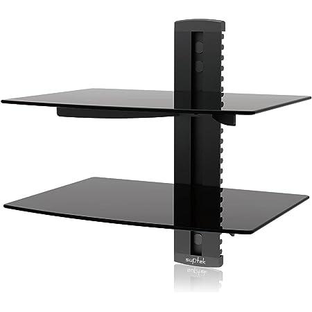 Suptek 2 Flottantes étagères pour Lecteurs DVD/Boîtes De Câble/Consoles De Jeux/Accessoires De Télévision CS202, Noir