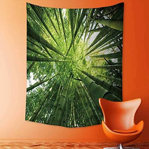 ZWBBO wandtapijt, exotische weelderige groene bamboe-overkappingen, hoofddecoratie voor slaapkamer, slaapkamer, slaapzaal, bovenaan bekijken (130X150)