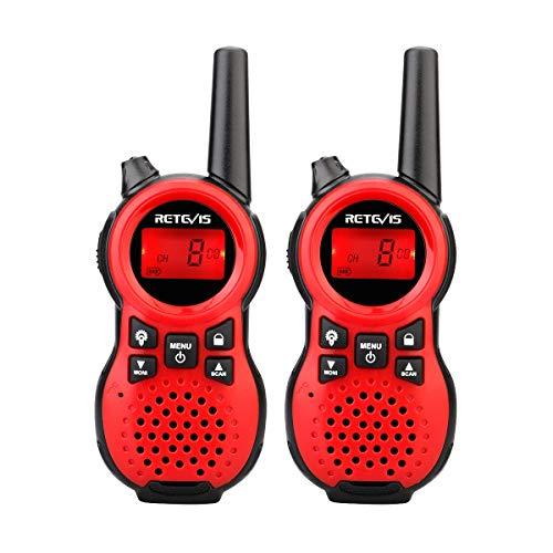 Retevis RT638 Walkie Talkie Kinder Funkgerät PMR446 16 Kanäle Taschenlampe VOX Kinderspielzeug Geschenk Walkie Talkies für Kinder (Rot, 1 Paar)