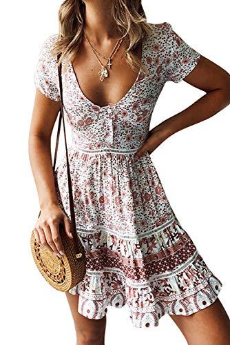 MAGIMODAC Blumenkleid Strandkleider Sommerkleider Minikleider Partykleider Geblümtes Boho Kleid Kurz Retro 36 38 40 42 (B-Rosa, Etikett M/EU38)