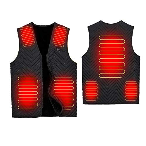 YANYUN Chaleco térmico ajustable de 3 velocidades, para hombre, mujer, 7 zonas, para caza, pesca, invierno, USB al aire libre, S