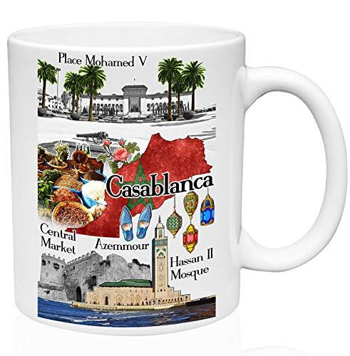 Taza de café con diseño de Casablanca de Marruecos de 325 ml, color blanco