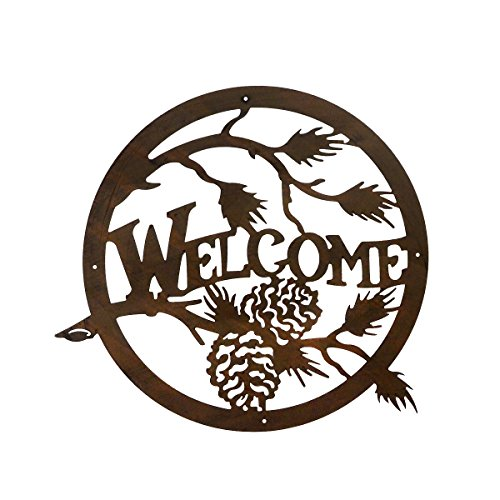 Mayrich Rustic Brown Pine Cone Silhouette Welcome Sign, Decorative Laser Cut Out Metal Wall Art, Home Décor Plaque for Cabin, Camp, Lakehouse or Mountain Chalet