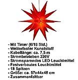 3D Leuchtstern inkl. warm-weißer LED Beleuchtung | für Innen und Außen geeignet | hängend | 7,5 m Zuleitung | ca. 57x44x48 cm (Rot) - 4