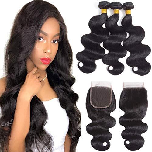 Body Wave Brazilian Hair Weave Bundles With Closure 14 16 18+12 Body Wave Human Hair Bundles With Closure (Natural Black,14 16 18+12)