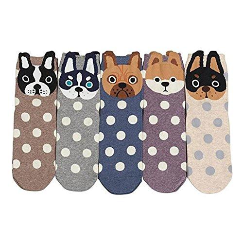 ZAKASA Lustige Katze Charakter Sneaker Socken Frauen Damen Bunte Mini Crew Socken Frühling EU 35-41 5/6 Paare