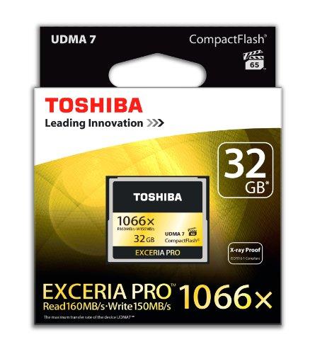 Toshiba Exceria Pro Scheda di Memoria CF Compact Flash da 32 GB, 160MB/s, 1066x, VPG65, UDMA7